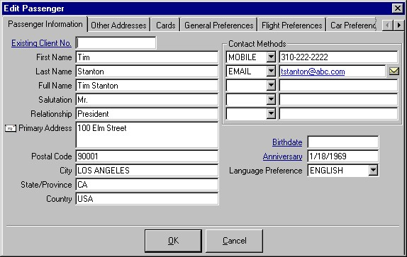 The Passenger Detail window showing the primary address for the individual passenger, five contact methods (phone, email, fax, web), a birthdate, an anniversary and a language preference.
