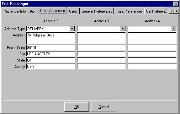 The Passenger Other Addresses tab showing three additional addresses you may store for each passenger.